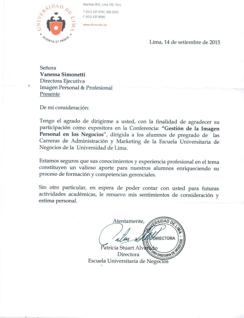 Carta de Agradecimiento ULIMA