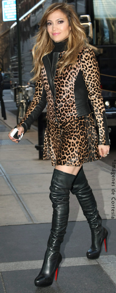 Jennifer Lopez In Sexy Leopard Print With Leather Boots