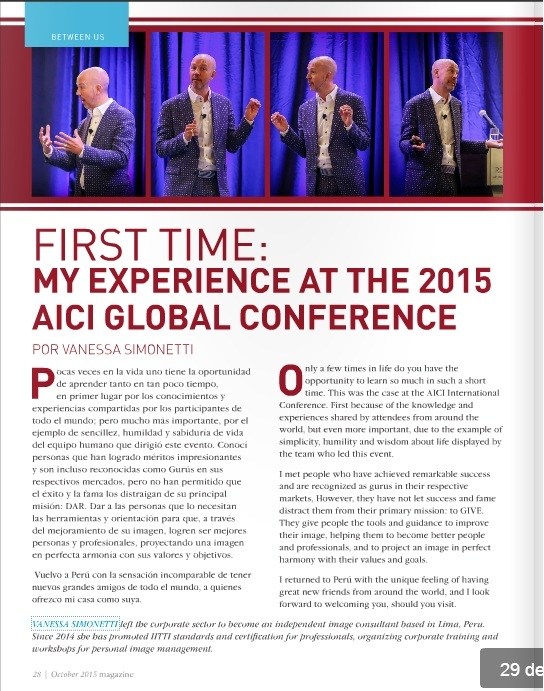 AICI Magazine page 29 First Timer Perspective