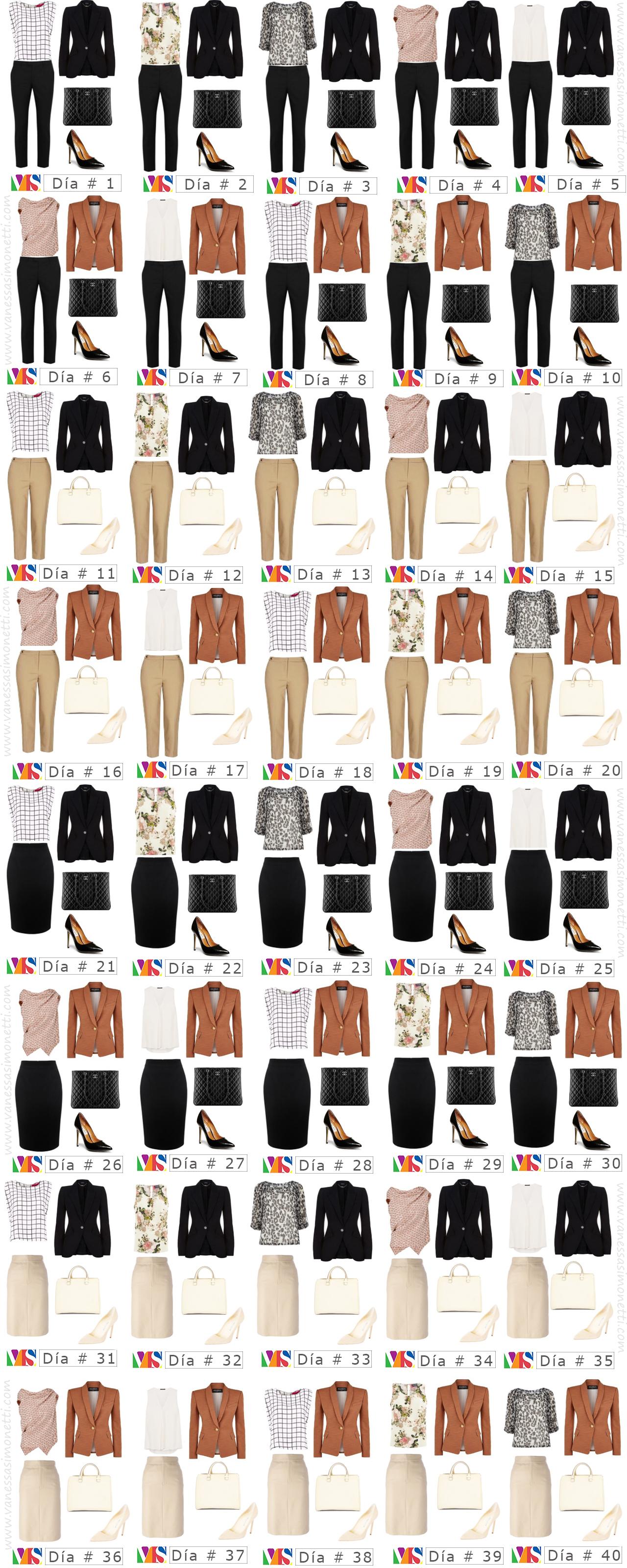 40 opciones de outfits diferentes con 11 prendas vanessasimonetti